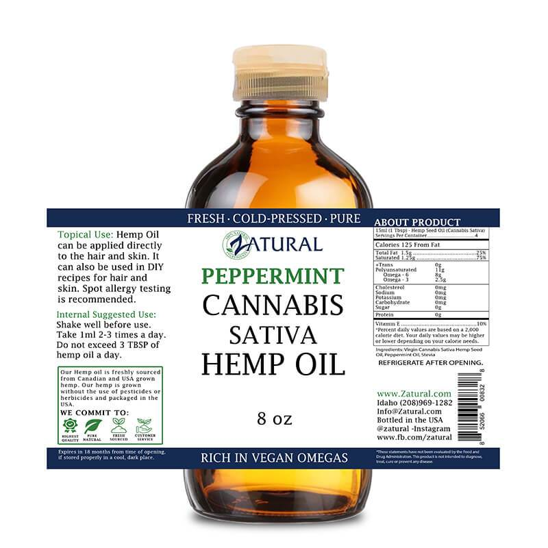 8oz Peppermint Hemp Oil
