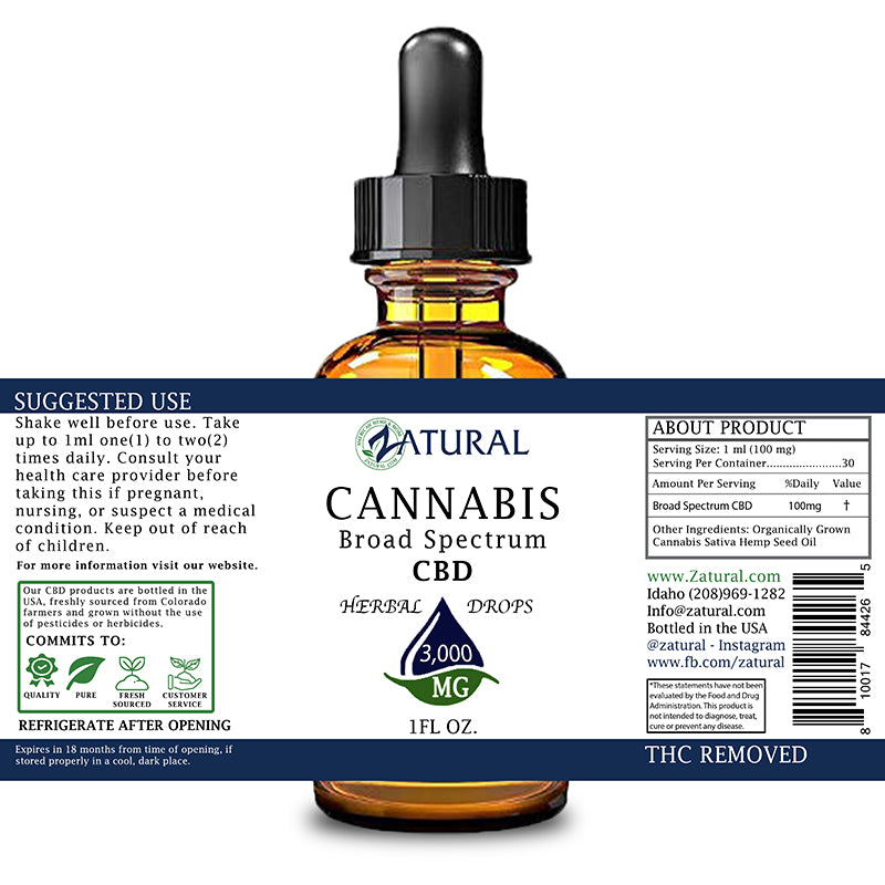 Zatural 3000mg Natural Flavored CBD Oil