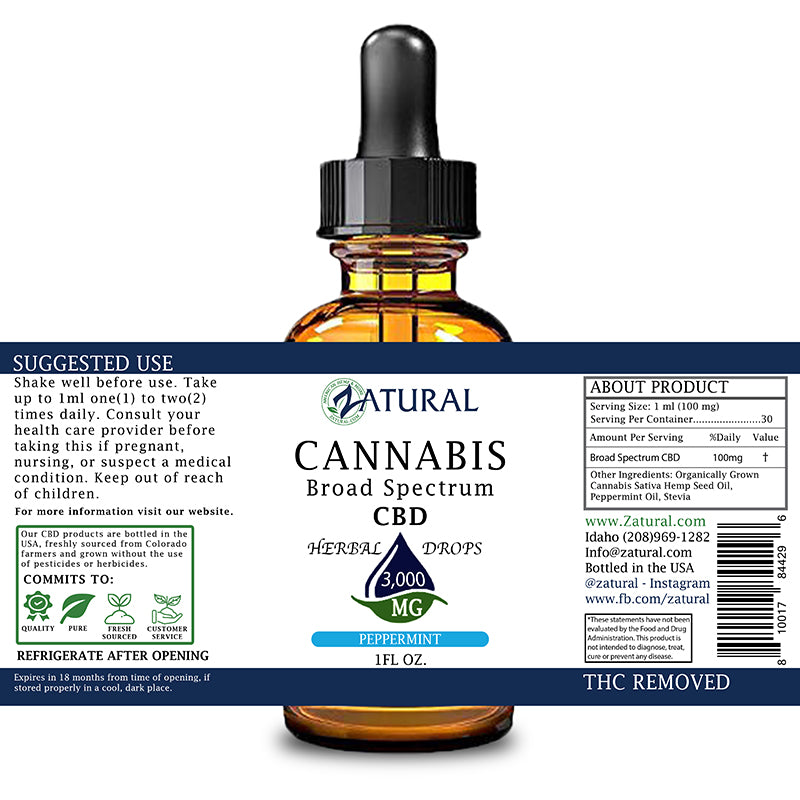 Zatural 3000mg Peppermint Flavored CBD Oil