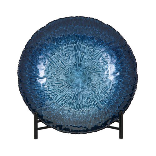 NNew IMAX Trisha Yearwood Honey Bee Glass Charger with Stand, Blue