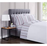 new London Fog 4 Piece Twin/TwinXL Sheet Set - Carlyle Red Stripe