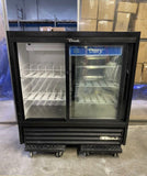 "True 2019 Black Double Sliding Glass Door Cooler, 48""H x 47″W x 21.5""D"