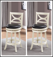 "lot of 2 New Other Boraam 24"" Florence Swivel Stool, Distressed White"