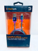 new other blackweb 5ft. steel cable cover sync & charge cable with micro-usb connector, multi-color