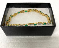 New Beautiful 18K Yellow Gold Over Solid Sterling Silver 0.10 CTW Diamond and 10.0 CTW Emerald