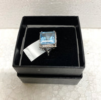 New Stunningly Gorgeous Solid Sterling Silver Huge Mesmerizing 5.80 CTW Swiss Blue Topaz Size 7 Ring
