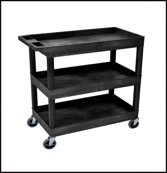New Other Luxor 18in x 35in 3-Shelf Plastic Tub Cart, Black