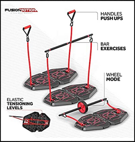 new Other Fusion Motion Portable Gym with Heavy Resistance Bands, Tricep Bar, Ab Roller Wheel and Pulleys, Black and Red