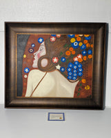 "New Other Klimt Sea Serpents Iv with Opulent Frame, Dark Stained Wood, 30"" x 26"" x 2 1/2"""