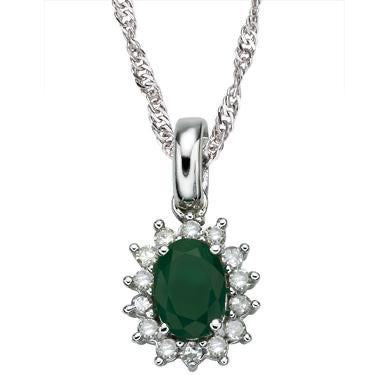 New Mesmerizing 14K White Gold Over Sterling Silver 14 Diamonds & Emerald 18 Inch Designer Necklace