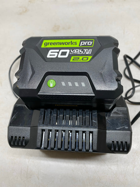 greenworks Pro 60-Volt Lithium Max 2.0 Battery & Greenworks 60 Volt Lithium-Ion Battery Charger  Combo