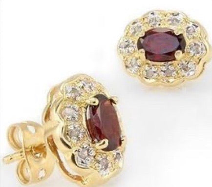 New Gorgeous 18K Yellow Gold Over Solid Sterling Silver 1/5 CTW Diamonds & 1.7 CTW Garnet Earrings