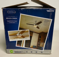 "new Other Harbor Breeze Beach Creek 44"" Brushed Nickel LED Indoor Ceiling Fan w/ Light Kit & Remote (3-Blade)"