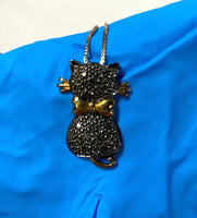 "new 1/10 CT. T.W. Color-Enhanced Black Diamond .925 Italy 18"" Cat Necklace"