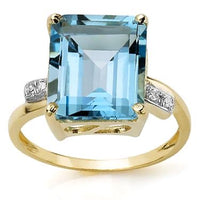 New Stunning 10K Solid Yellow Gold Diamonds and 7 CTW Swiss Blue Topaz Size 7 Designer Ring