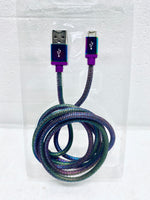 new other blackweb 5ft. steel mesh sync & charge cable with micro-usb connector, multi-color