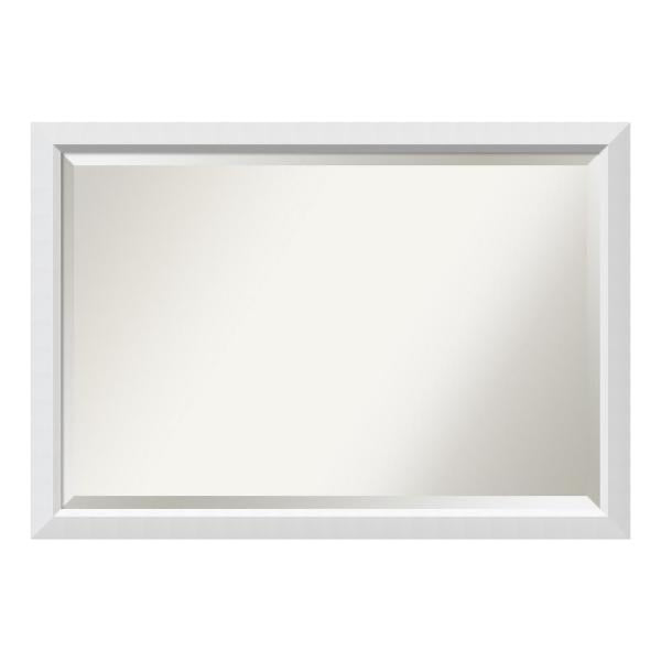 New Other Amanti Art Blanco White Wood 39 in. W x 27in. H Single Contemporary Bathroom Vanity Mirror