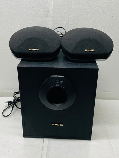 aiwa subwoofer ts-w45 with two speakers