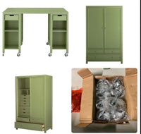 new Other Craft Space Hutch with 2 Doors and 9 Drawers 72in. H x 42in. W x 22in. D with a Craft Storage Table with Castors, Rhododendron Leaf Green