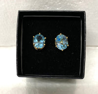 New Beautiful 18K Yellow Gold Over Sterling Silver 3.0 CTW Swiss Blue Topaz Designer Earrings