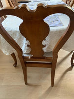 Beautiful Brown Wood Dining Table with 6 Chairs & Leaf