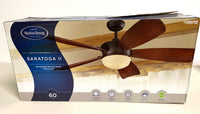 "new Harbor Breeze Saratoga 60"" Oil-Rubbed Bronze LED Indoor Ceiling Fan w/ Light Kit & Remote (5-Blade)"