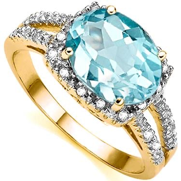 New Captivating 10K Solid Yellow Gold 22 Diamonds 3.20 CTW Swiss Blue Topaz Size 7 Designer Ring