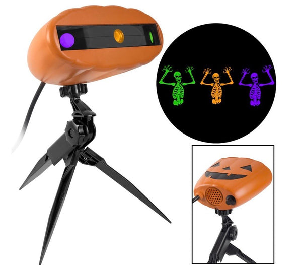 new other led lightshow projection fright flickers - green, orange & purple skeletons