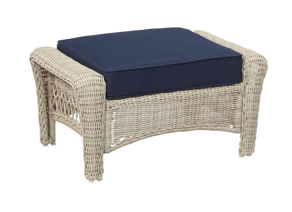 "New Park Meadows Ottoman-Off White With Navy Cushion (20.50"" x 16.50"" x 33.00"")"