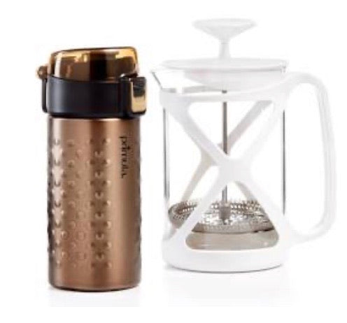 New Other Primula Barista Life Coffee Brew & Go Set, 12oz. Thermal Tumbler & 6 Cup Coffee Press - Bronze & White