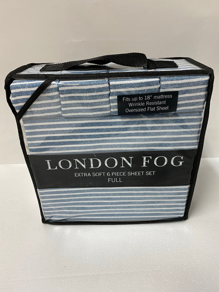 new London Fog Extra Soft 6 Piece Sheet Set Full - Blue/Striped