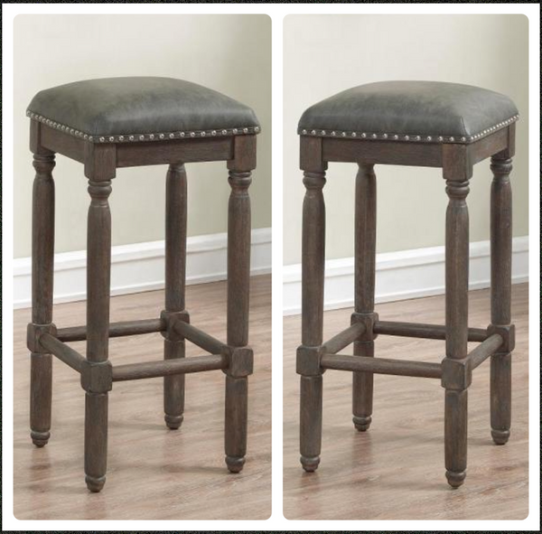 lot of 2 New Other American Woodcrafters Bronson 26in. Driftwood Grey Cushioned Backless Counter Stools