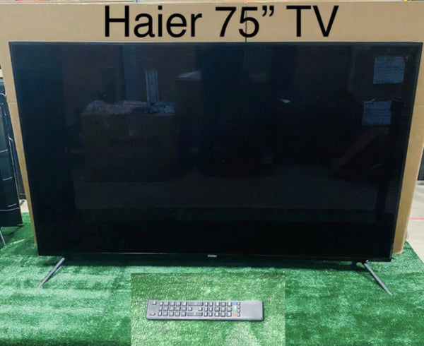 "Haier 75in. LED Black 720p HDTV with Remote 75G2500, 66"" x 40"" x 15 1/2"""