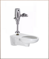 New American Standard Exposed Afwall Toilet w/Flush Valve Top Spud Floor Mount Toilet Bowl in White/Chrome