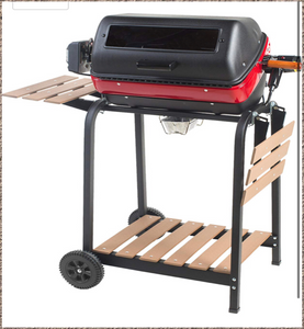 Americana Electric Cart Grill with two folding side tables, shelf and rotisserie, Red/Black