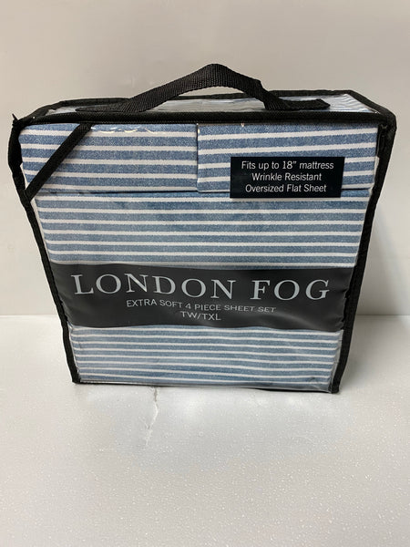 new London Fog 4-Piece Twin/Twin XL Luxury Sheet Set, Corgan Blue Stripe