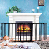 new Other NsDirect Fireplace Fence,Baby Safety Gate Fireplace Freestanding 3-in-1 Wide Adjustable 5-Panel Folding Metal Barrier, Black