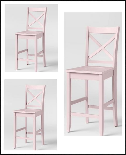 "lot of 3 New Other 24"" Carey Hardwood Counter Height Barstools, Pink"