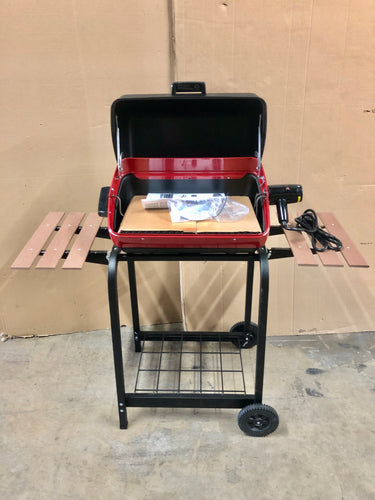 Americana Grills 1500 Watt Electric Grill with Folding Side Tables, Red/Black - New Value $176