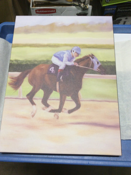 New Brown Racing Horse with Rider Art Work