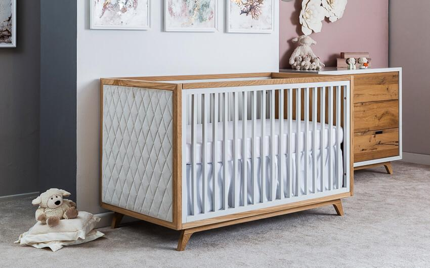 Uptown Baby Crib with Tufted Panel
