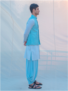Aqua Waist Coat and Alladin Dhoti with White kurta - Bohame