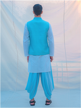 Load image into Gallery viewer, Aqua Waist Coat and Alladin Dhoti with White kurta - Bohame