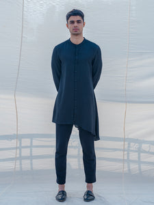 Cotton X Linen Bad and Black Kurta - Bohame