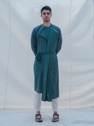 Cotton X Linen kurta in Bottle Green - Bohame