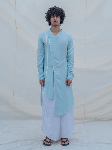 Cotton X Linen Blue Kurta - Bohame