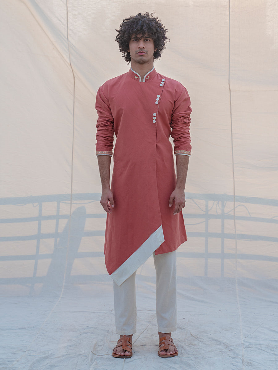 Cotton X Linen Coral & Mean Kurta - Bohame