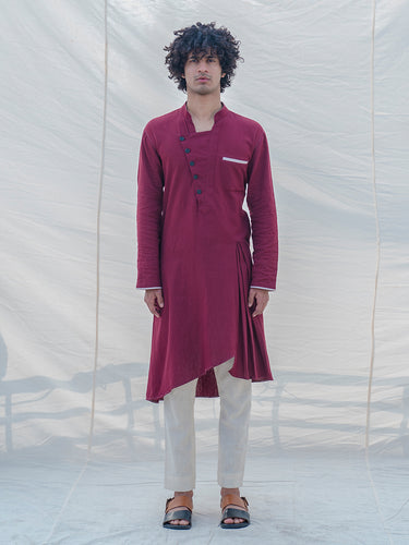 Cotton X Linen in Maroon Kurta - Bohame