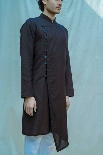 Cotton X Linen Overlapped Kurta In Black