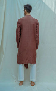 Cotton X Linen Overlapped Kurta Set - Bohame